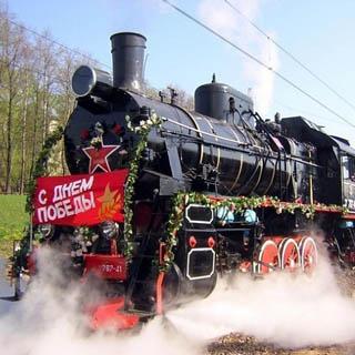 Уникальный поезд под названием «Армия Победы» направляется по Транссибирской магистрали в Уссурийск
