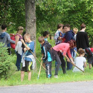 Школьники убрали парк, где был высажен «Лес Победы»